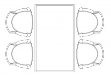 Chairs & Dining table set-up top view | FREE AUTOCAD BLOCKS