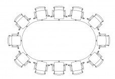 Chairs & Meeting table set-up top view | FREE AUTOCAD BLOCKS