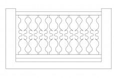 Straight Railing elevation | FREE AUTOCAD BLOCKS