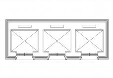 Triple Lift top view   FREE AUTOCAD BLOCKS