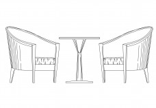 Armchairs & table set-up elevation | FREE AUTOCAD BLOCKS