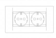 Double socket elevation | FREE AUTOCAD BLOCKS