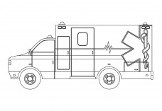 Ambulance Side view | FREE AUTOCAD BLOCKS
