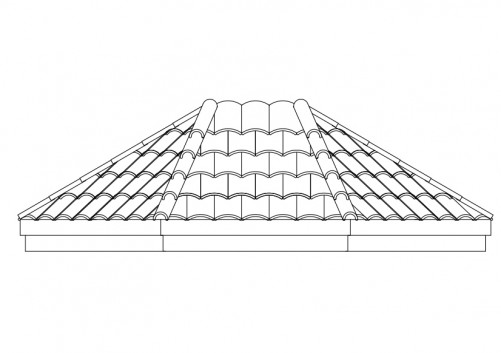 Roof Tiles Elevation Free Cads